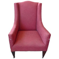 French 19th Century Stained Walnut Wing Backed Armchair on Four Castors