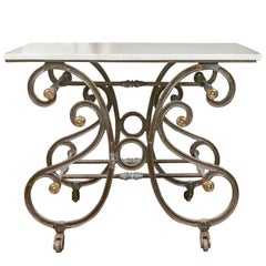 French 19th Century Steel and Brass Baker's Table with White Marble Top