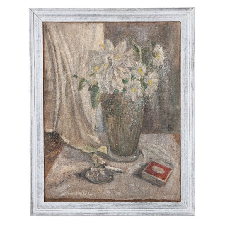 Paint French 19th Century Still Life Oil on Canvas For Sale