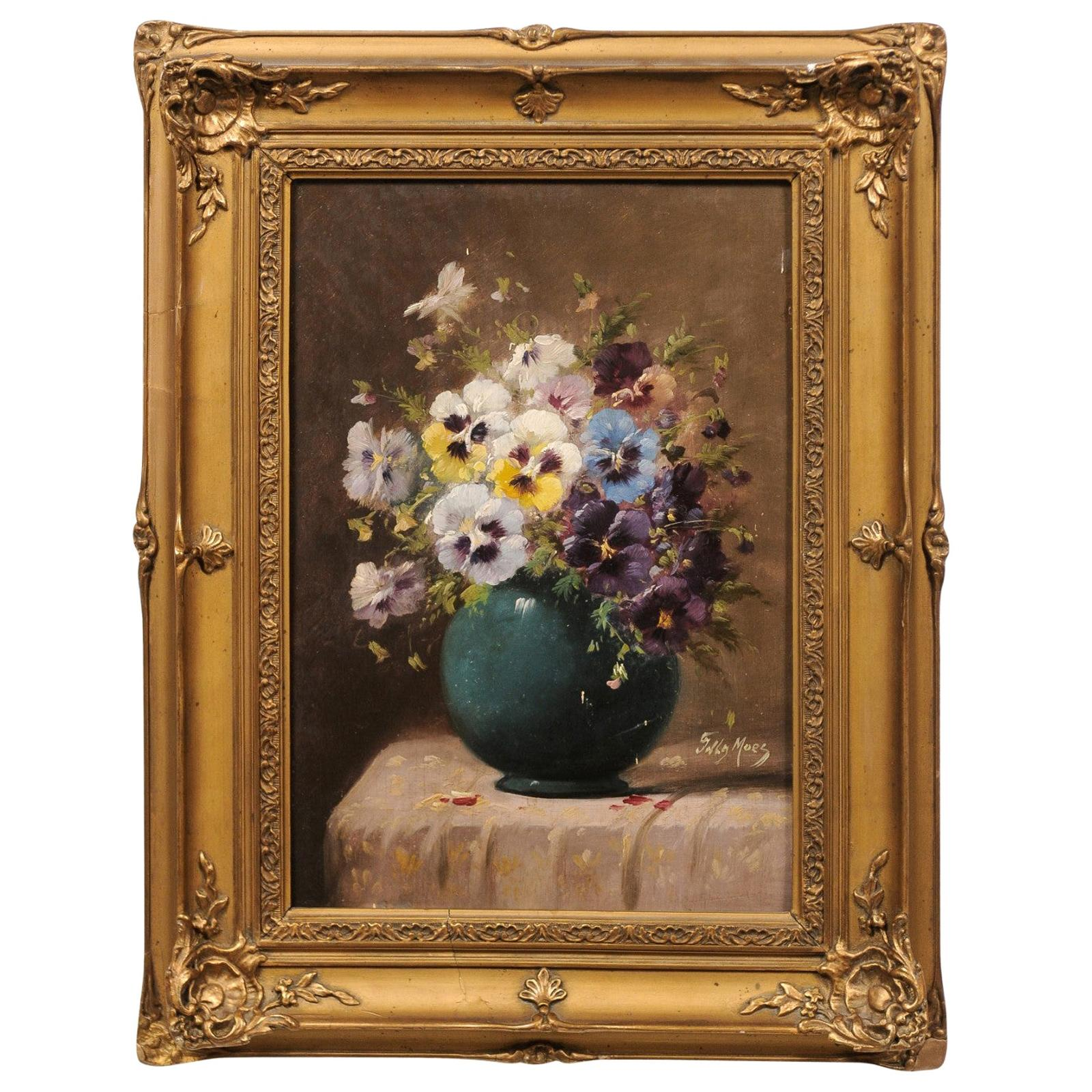 French 19th Century Still-Life Oil Painting Depicting Pansies in Giltwood Frame