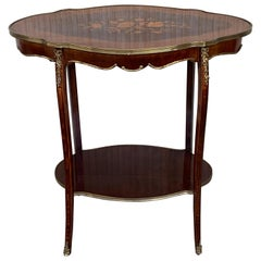 French 19th Century Table Louis XV Style with Floral Marquetry and Gilt Bronze