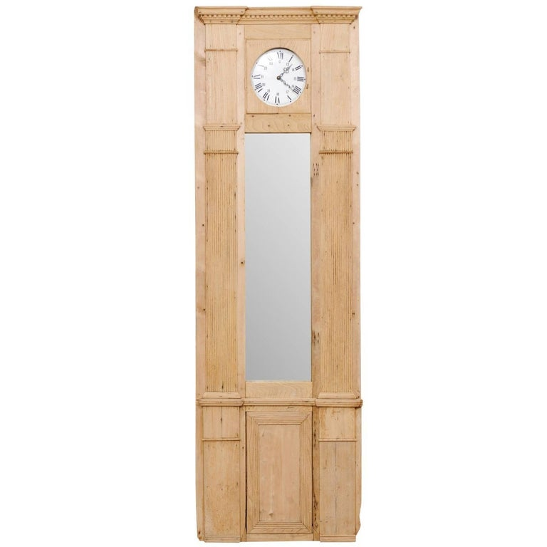 French 19th Century Tall Architectural Wood Panel with Long Mirror and Clock