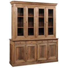 French 19th Century Tall Cabinet w/ Glass Display Top over Closed Storage Below