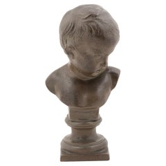 French 19th Century Terracotta Bust of a Child on Pedestal Signed François