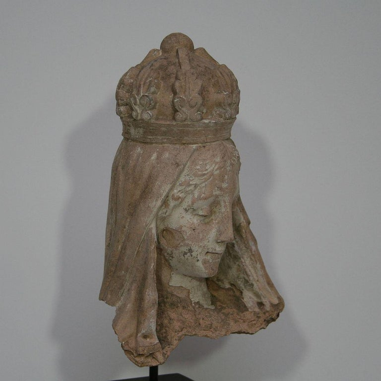 French 19th Century Terracotta Head of a Madonna For Sale 9