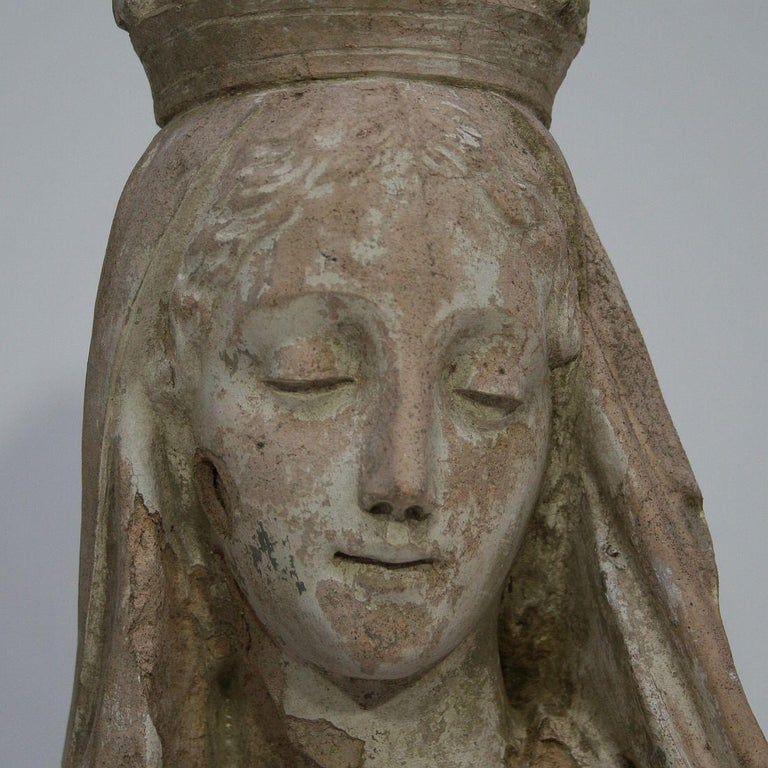 French 19th Century Terracotta Head of a Madonna For Sale 11