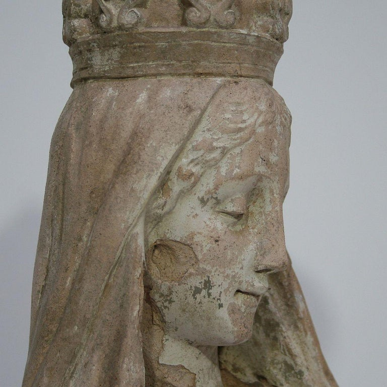 French 19th Century Terracotta Head of a Madonna For Sale 13