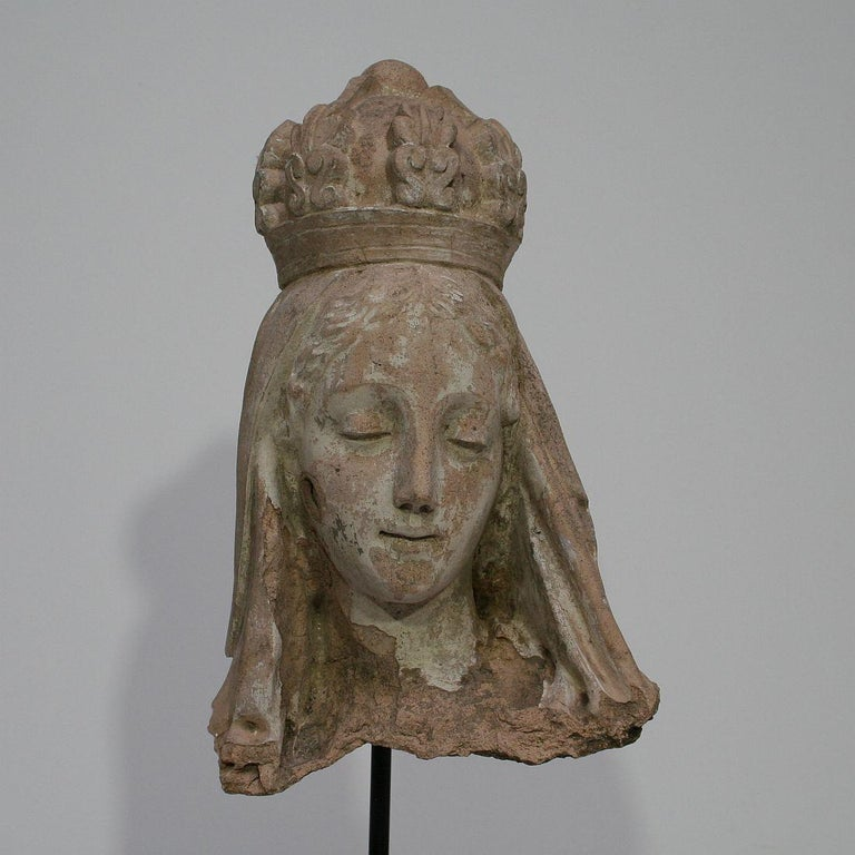 French 19th Century Terracotta Head of a Madonna For Sale 3