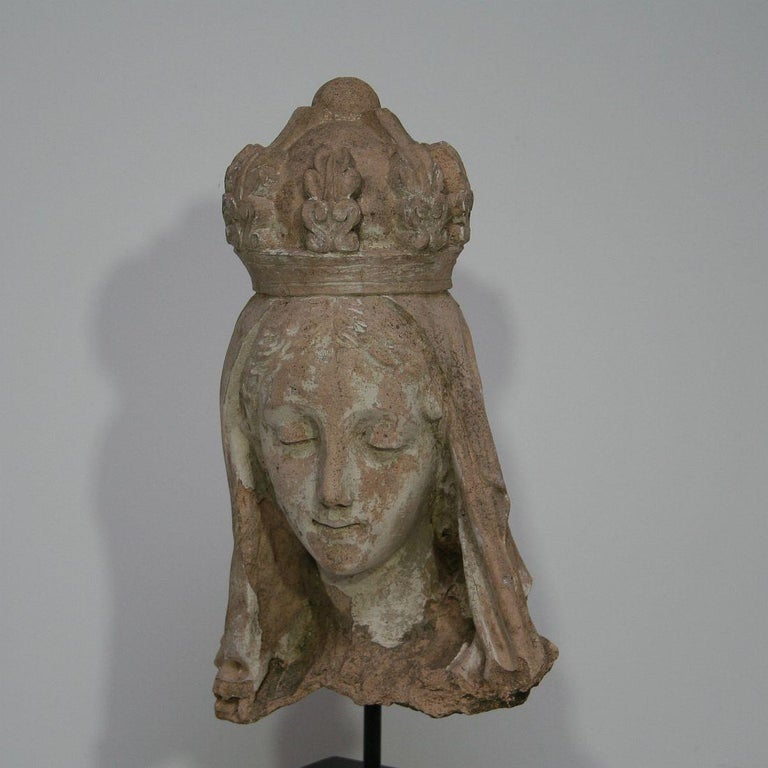 French 19th Century Terracotta Head of a Madonna For Sale 4