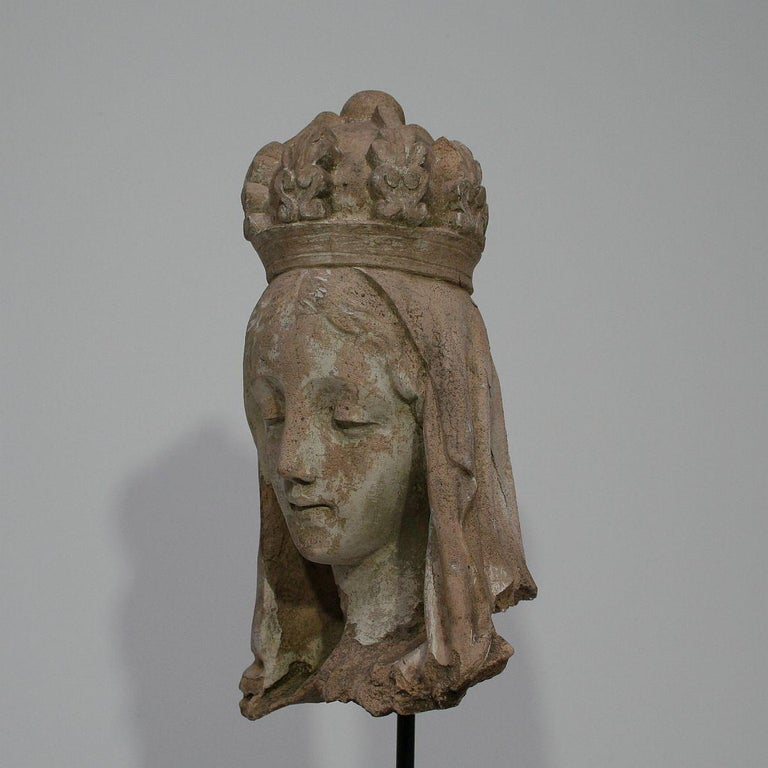 French 19th Century Terracotta Head of a Madonna For Sale 5