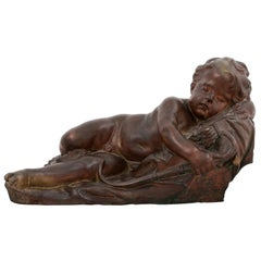 French 19th Century Terracotta Sleeping Cupid after Giovacchino Fortini