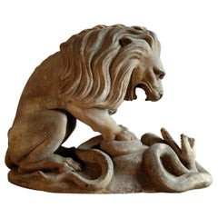 19th Century French Terracotta Statue of a Lion