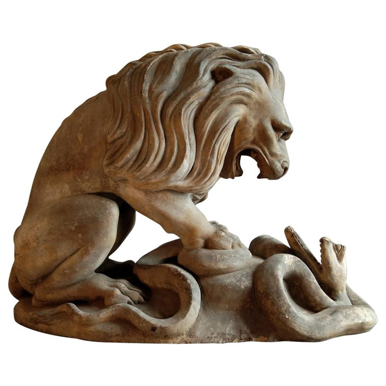 19th Century French Terracotta Statue of a Lion For Sale