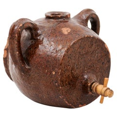 French 19th Century Terracotta Vinegar Pot with Chocolate Glaze and Great Patina