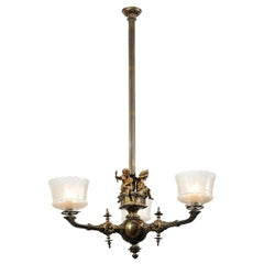 French 19th Century Three-Light Bronze and Baccarat Chandelier with Cherubs