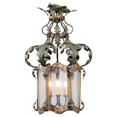French 19th Century Three-Light Iron and Glass Lantern with Scrolling Leaves