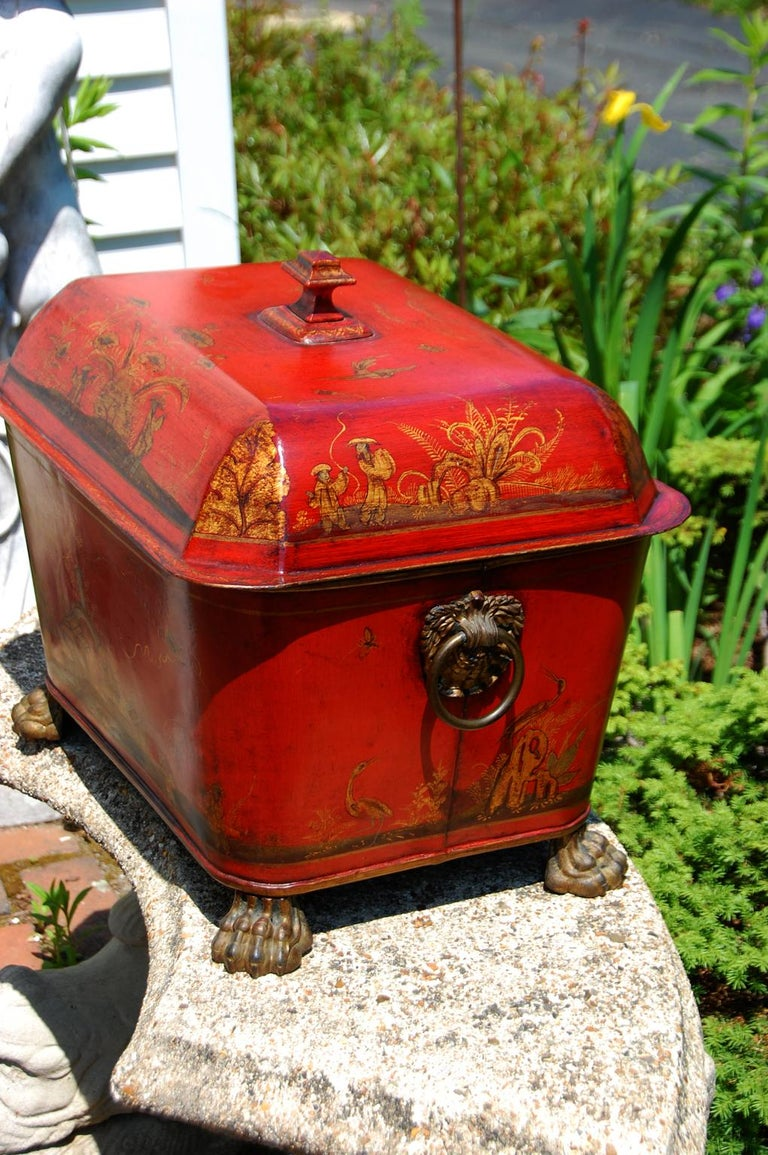 Tin French 19th Century Tole Coal Bin with Chinoiserie Decoration For Sale