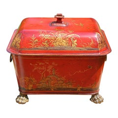 French 19th Century Tole Coal Bin with Chinoiserie Decoration