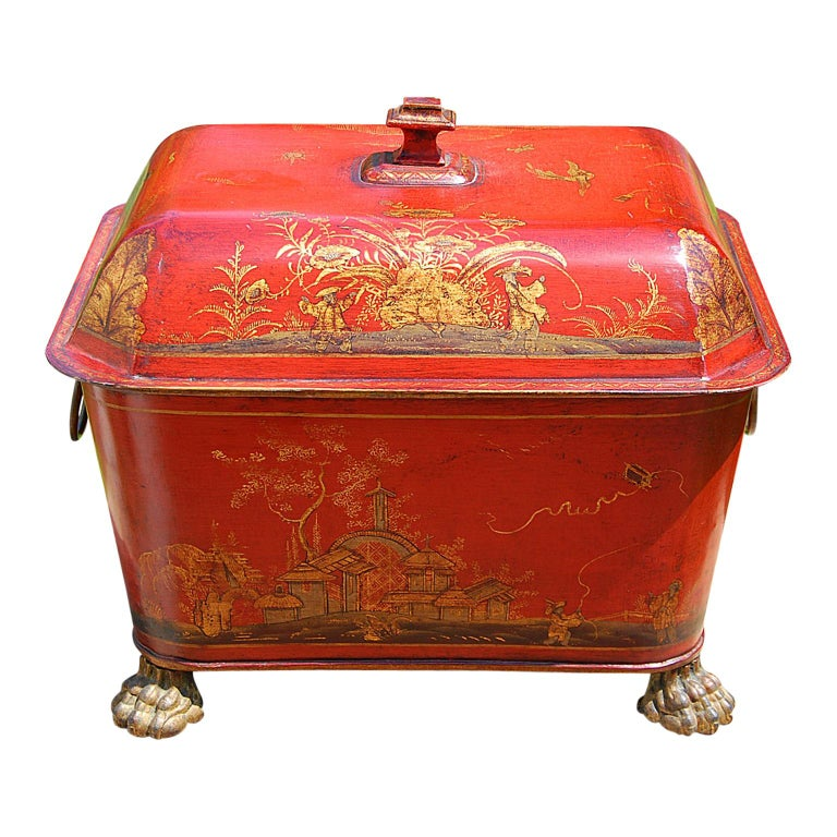 French 19th Century Tole Coal Bin with Chinoiserie Decoration For Sale