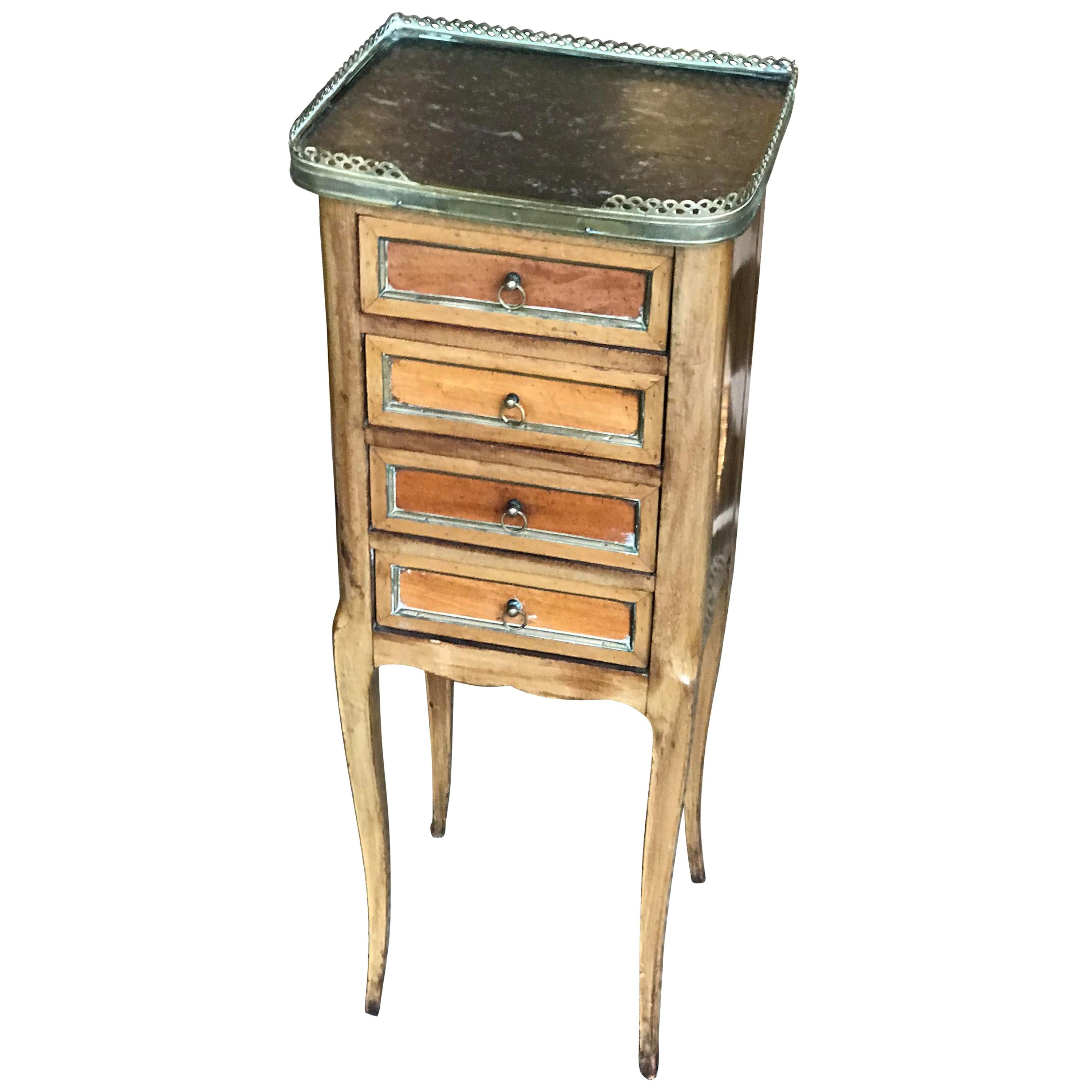 French 19th Century Traditional Black Marble-Top Petite Commode