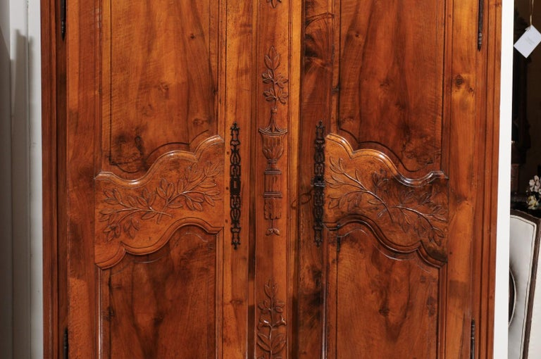 Wood French 19th Century Transition Style Provençale Carved Wedding Armoire For Sale