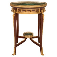 French 19th Century Transitional St. Mahogany, Ormolu and Malachite Side Table