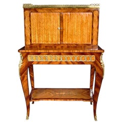 French 19th Century Transitional St. Marquetry Bonheur Du Jour