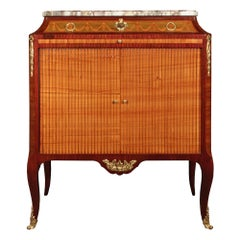 French 19th Century Transitional St. Tulipwood, Kingwood and Charm Wood Cabinet