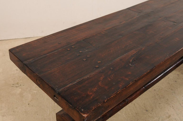 Wood French 19th Century Trestle Table For Sale