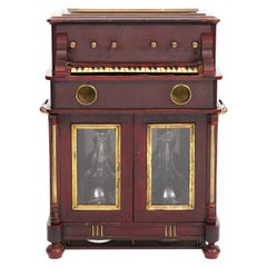 French 19th Century Upright Piano Design Music Box Tantalus or 'Cave a Liqueur'