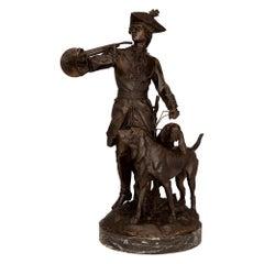 French 19th Century Verdigris Signed Bronze Statue