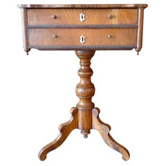 French 19th Century Walnut 2-Drawer Sewing Table with Inlay Top and 2 Drawers