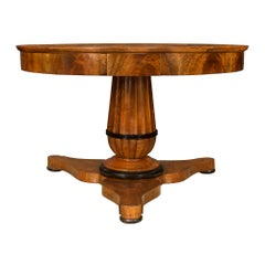 French 19th Century Walnut and Ebonized Fruitwood Circular Center Table