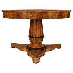 French 19th Century Walnut and Ebonized Fruitwood Circular Center Table