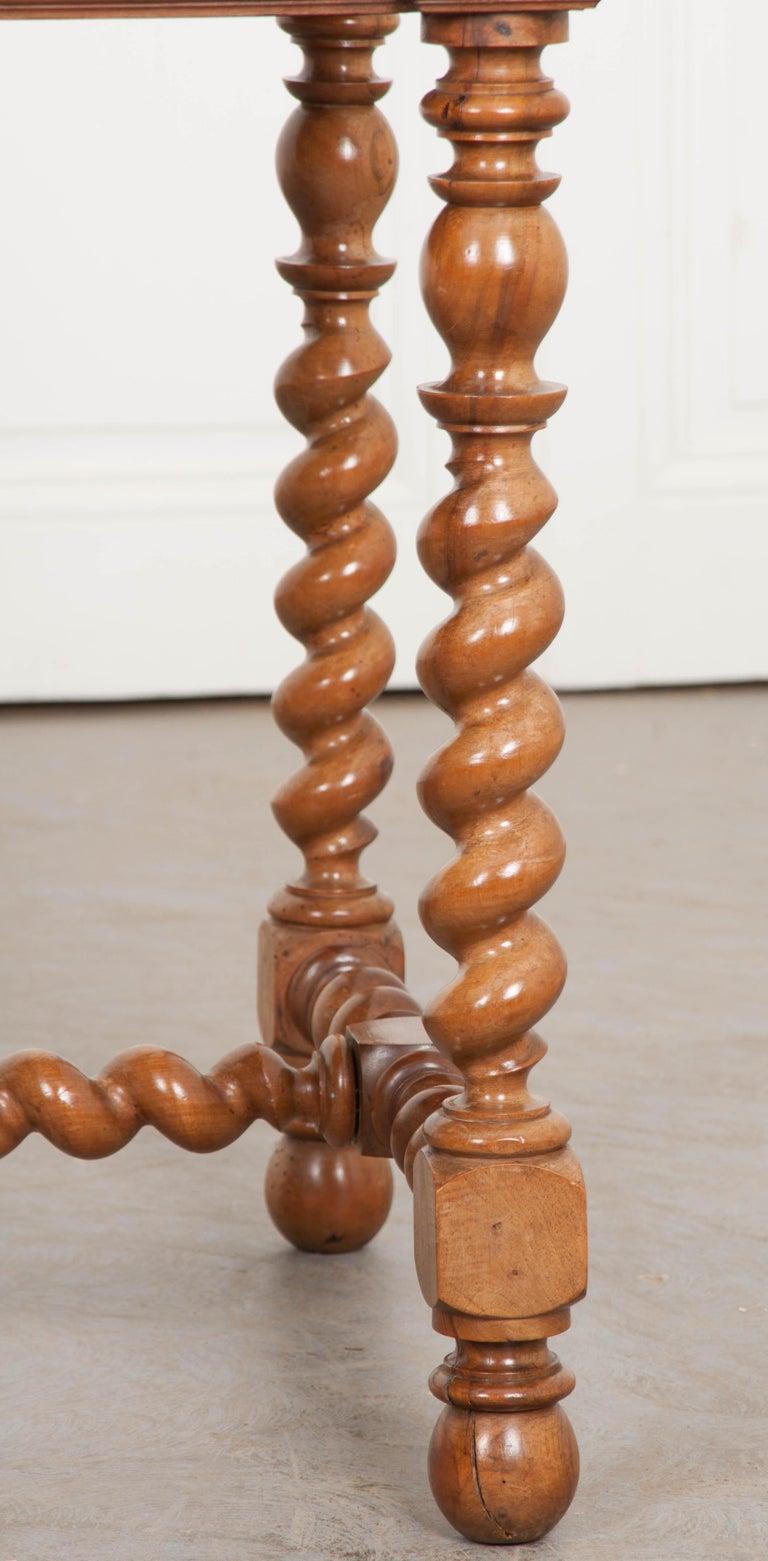 French 19th Century Walnut Barley Twist Desk Table For Sale 6