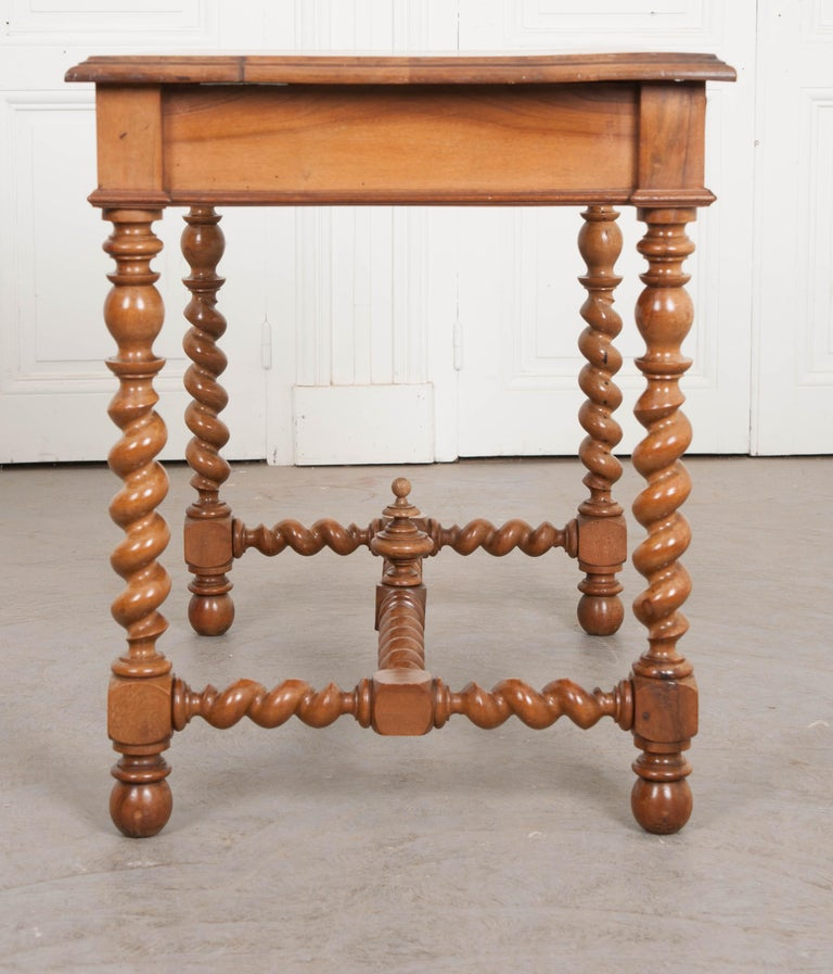 Neoclassical French 19th Century Walnut Barley Twist Desk Table For Sale