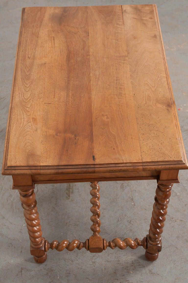 French 19th Century Walnut Barley Twist Desk Table For Sale 3