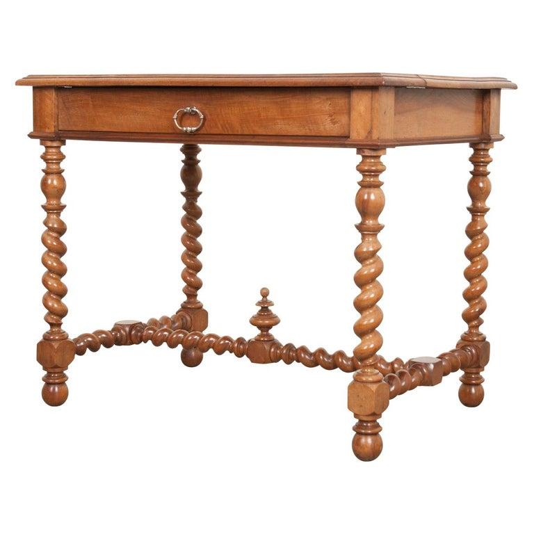 French 19th Century Walnut Barley Twist Desk Table For Sale