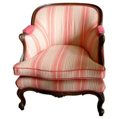 French 19th Century Walnut Bergère Chair Re-Upholstered with New Fabric
