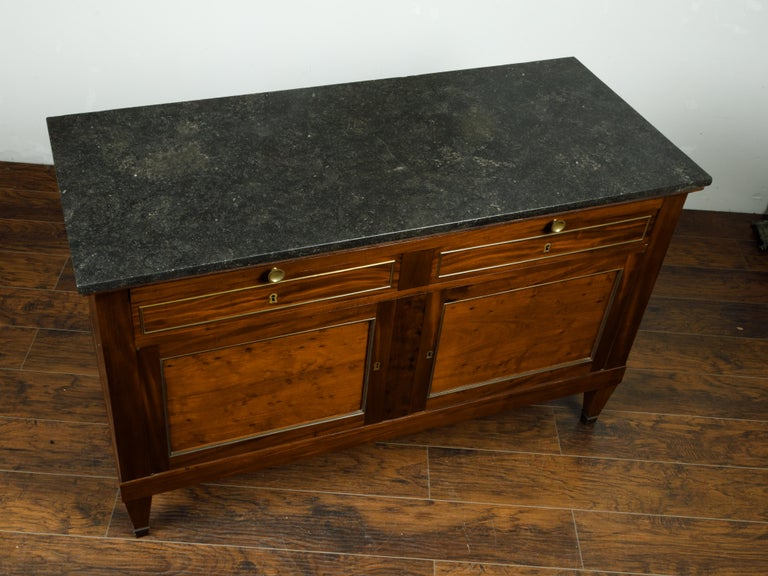 French 19th Century Walnut Buffet with Marble Top, Pull-Out, Drawers and Doors For Sale 2