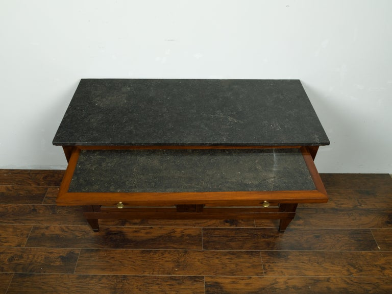French 19th Century Walnut Buffet with Marble Top, Pull-Out, Drawers and Doors For Sale 4