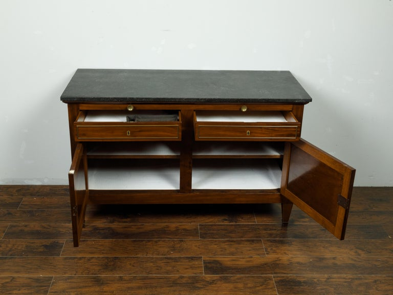 French 19th Century Walnut Buffet with Marble Top, Pull-Out, Drawers and Doors For Sale 5