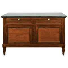French 19th Century Walnut Buffet with Marble Top, Pull-Out, Drawers and Doors