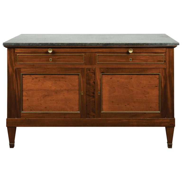 French 19th Century Walnut Buffet with Marble Top, Pull-Out, Drawers and Doors For Sale