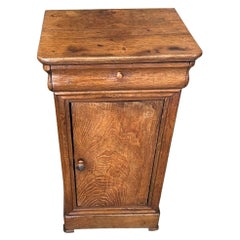 French 19th Century Walnut Nightstand with One Drawer and One Door