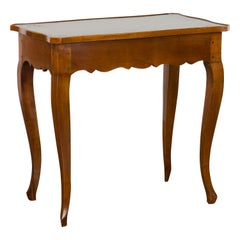 French 19th Century Walnut Side Table with Leather Top and Long Lateral Drawer