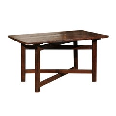 French 19th Century Walnut Table with Folding Stretchered Base and Removable Top