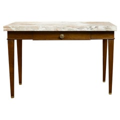 French 19th Century Walnut Table with Marble Top, Single Drawer and Tapered Legs
