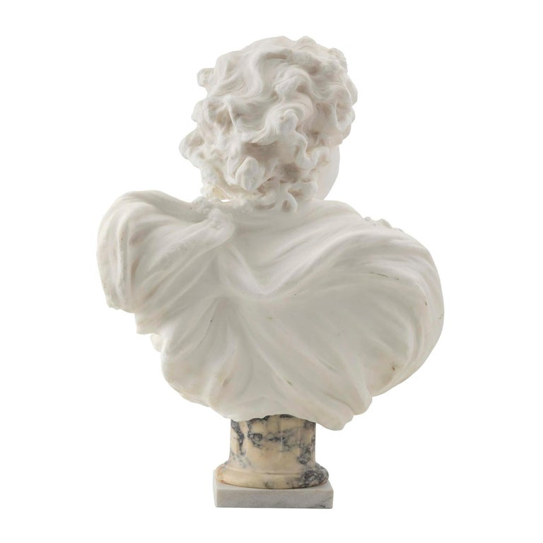 Louis XVI French 19th Century White Carrara Marble Bust of a Young Lady For Sale
