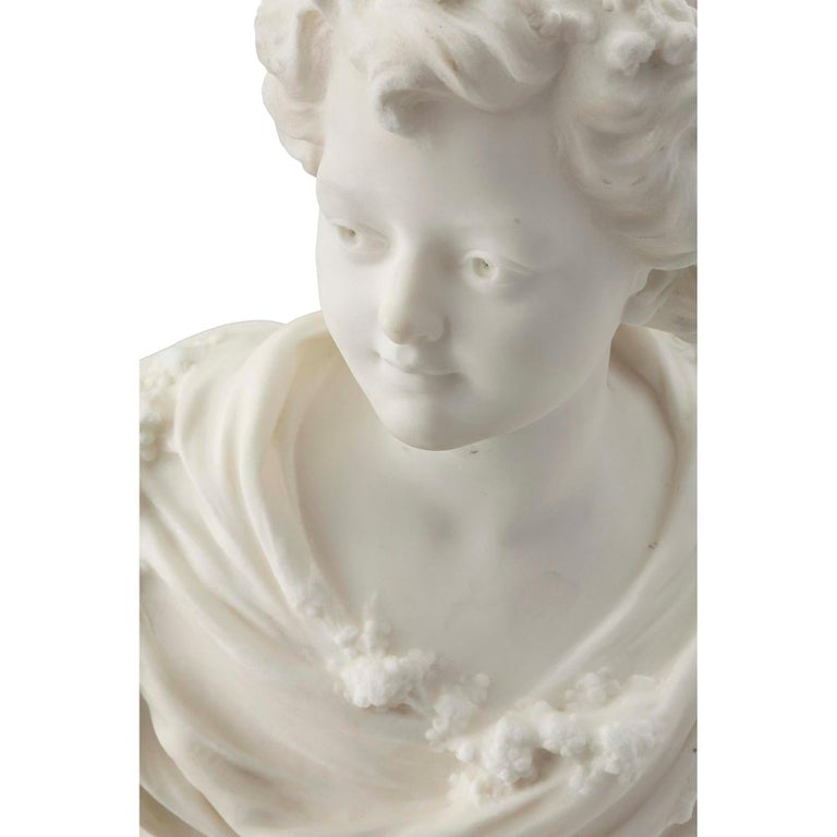French 19th Century White Carrara Marble Bust of a Young Lady For Sale 1